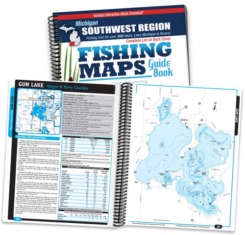 Southwest Michigan Fishing Map Guide cover and map page spread