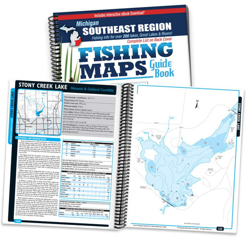 Southeast Michigan Fishing Map Guide cover and map page spread
