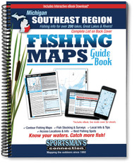 Southeast Michigan Fishing Map Guide cover - includes contour lake maps and fishing information for over 220 lakes and rivers plus Great Lakes coverage