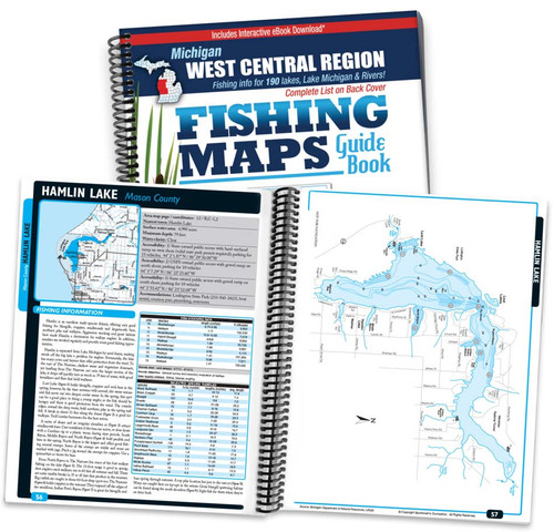 West Central Michigan Fishing Map Guide cover and map page spread
