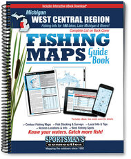 West Central Michigan Fishing Map Guide cover - includes contour lake maps and fishing information for over 150 lakes and rivers plus Great Lakes coverage