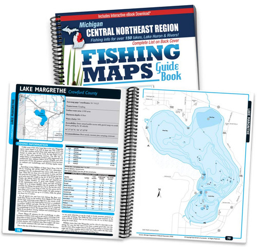 Central-Northeast Michigan Fishing Map Guide cover and map page spread