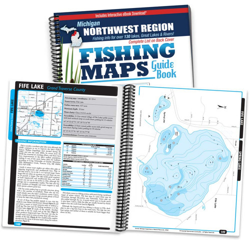 Northwest Michigan Fishing Map Guide cover and map spread
