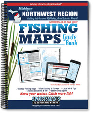 Northwest Michigan Fishing Map Guide Fishing Map Guide cover - includes contour lake maps and fishing information for over 130 lakes and rivers plus Great Lakes coverage