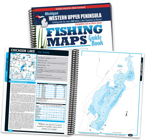 Western Upper Peninsula Michigan Fishing Map Guide cover and map page spread