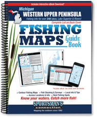 Western Upper Peninsula Michigan Fishing Map Guide cover - includes contour lake maps and fishing information for over 225 lakes plus Isle Royale and Great Lakes coverage