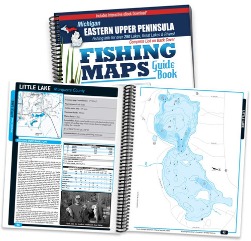 Eastern Upper Peninsula Michigan Fishing Map Guide cover and map page spread
