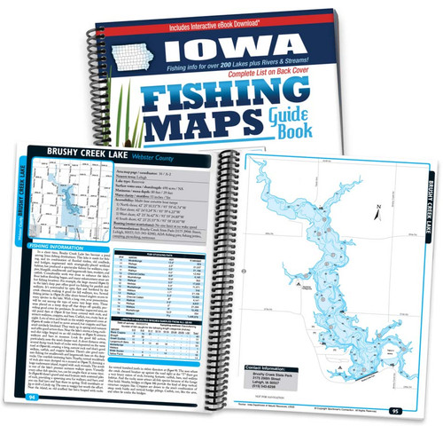 Iowa Fishing Map Guide cover and map page spread