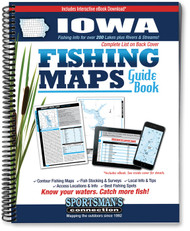 Iowa Fishing Map Guide cover - includes contour lake maps and fishing information for over 200 lakes and rivers