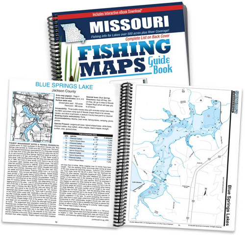 Missouri Fishing Map Guide cover and map spread