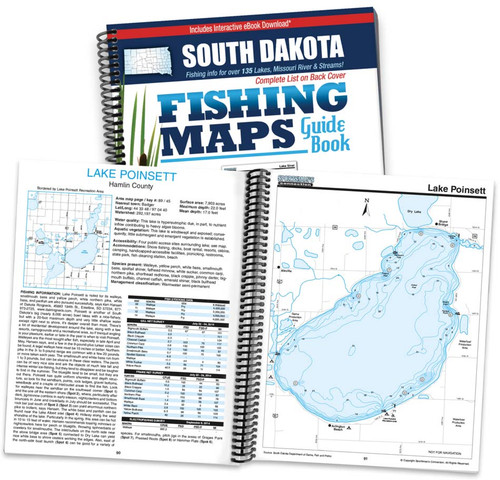 South Dakota Fishing Map Guide cover and map page spread