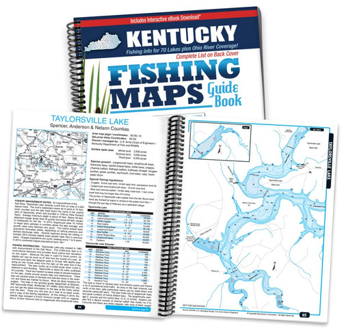 Kentucky Fishing Map Guide cover and map page spread