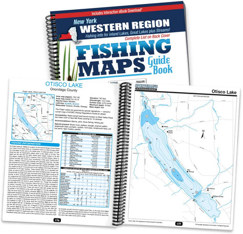Western New York Fishing Map Guide cover and map page spread