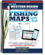Western New York Fishing Map Guide cover - includes contour lake maps and fishing information for over 70 lakes and rivers