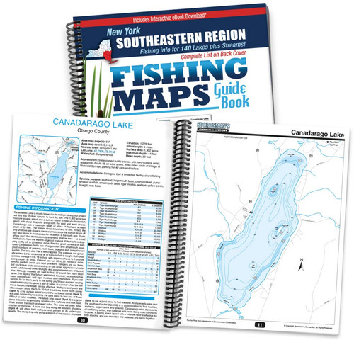 Southeastern New York Fishing Map Guide cover and map page spread