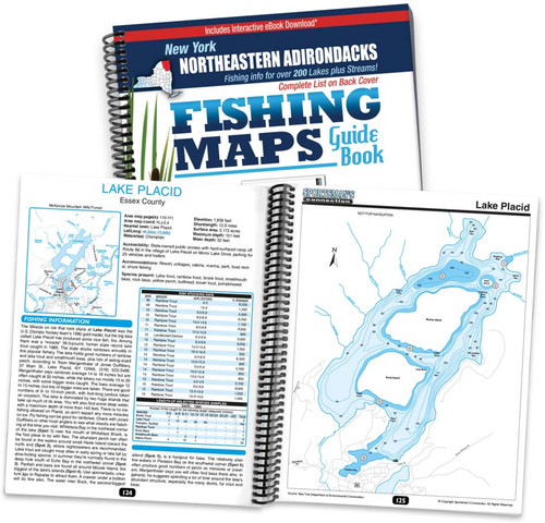 Northeastern Adirondacks New York Fishing Map Guide cover and map page spread