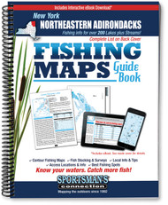 Northeastern Adirondacks New York Fishing Map Guide cover - includes contour lake maps and fishing information for over 190 lakes and rivers