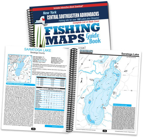 Central Southeastern Adirondacks New York Fishing Map Guide cover and map page spread