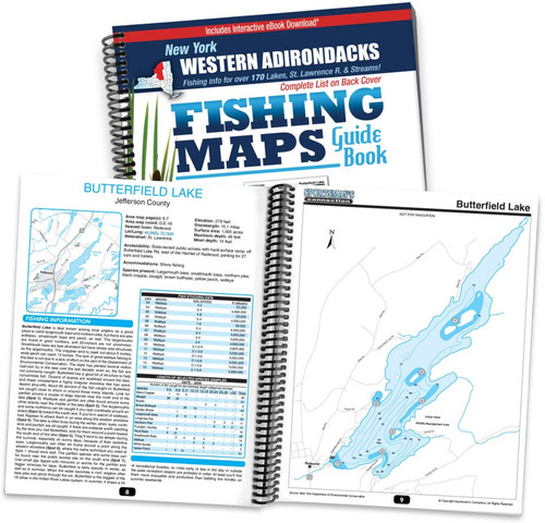 Western Adirondacks New York Fishing Map Guide cover and map page spread