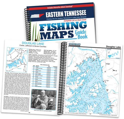 Eastern Tennessee Fishing Map Guide cover and map page spread