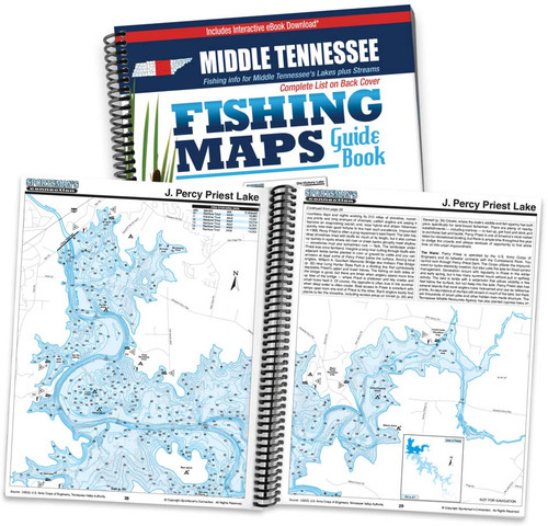 Middle Tennessee Fishing Map Guide cover and map page spread