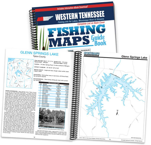Western Tennessee Fishing Map Guide cover and map page spread