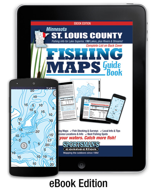 Northern Minnesota St. Louis County Fishing Map Guide eBook cover -  includes contour lake maps and fishing information for over 170 lakes and rivers plus Lake Superior coverage