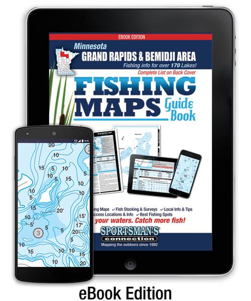 Northern Minnesota Grand Rapids & Bemidji Area Fishing Map Guide eBook cover