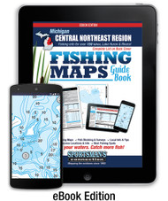 Central-Northeast Michigan Fishing Map Guide eBook Edition cover - includes contour lake maps and fishing information for over 150 lakes, streams, plus Great Lakes coverage