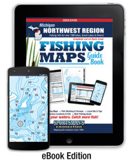 Northwest Michigan Fishing Map Guide Fishing Map Guide eBook Edition cover - includes contour lake maps and fishing information for over 130 lakes and rivers plus Great Lakes coverage