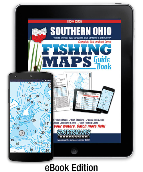Southern Ohio Fishing Map Guide eBook Edition - includes contour lake maps and fishing information for over 80 lakes plus streams and Ohio River