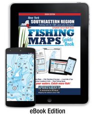 Southeastern New York Fishing Map Guide eBook cover - contour lake maps and fishing information for over 140 lakes and rivers