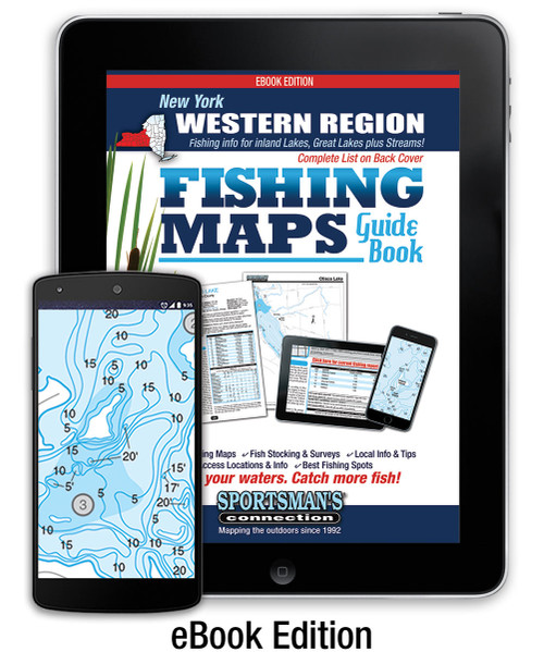 Western New York Fishing Map Guide eBook cover - includes contour lake maps and fishing information for over 70 lakes and rivers