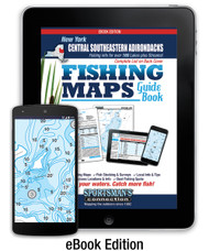 Central Southeastern Adirondacks New York Fishing Map Guide eBook cover - includes contour lake maps and fishing information for over 150 lakes and rivers