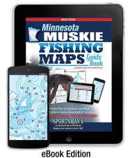 Minnesota Muskie Fishing Map Guide eBook cover -  includes contour lake maps with marked spots and fishing information for over 50 lakes
