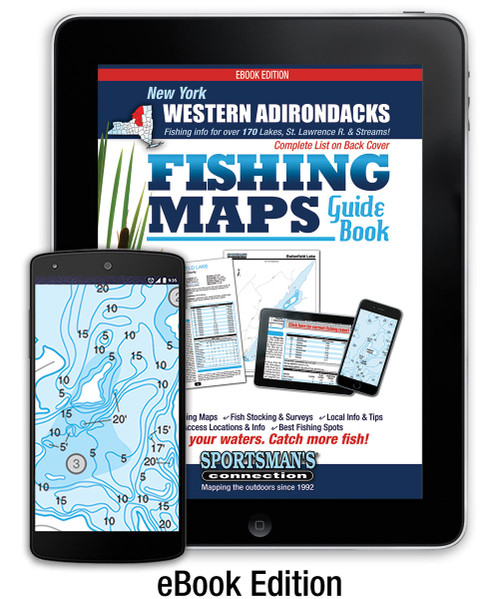 Western Adirondacks New York Fishing Map Guide eBook cover - includes contour lake maps and fishing information for over 160 lakes and rivers
