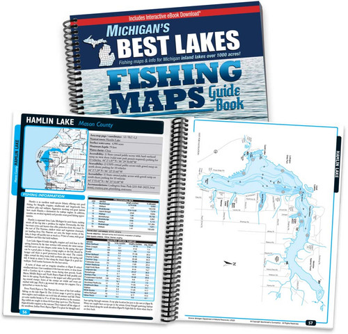 Michigan's Best Lakes Fishing Map Guide cover and pages