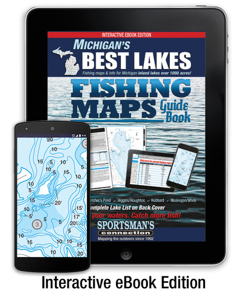 Michigan's Best Lakes Fishing Map Guide Interactive eBook cover and pages