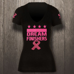 Black & Pink Breast Cancer w/ Glitter Dream Finishers - Women