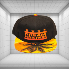 Dream Finisher Snapback Orange Rectangle Black Palm Tree Brim