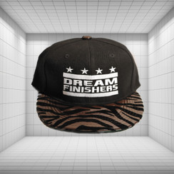 Dream Finisher Snapback Dark Brown and Black Striped Zebra Print - Glossy, Smooth Brim Texture