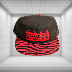 Dream Finisher Snapback Red and Black Striped Zebra Print