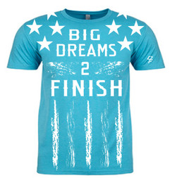 Dream Finishers BIG Dreams 2 Finish Tahiti Blue Shirt  with White Stars and White Letters