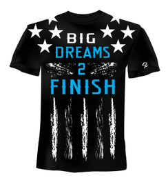Dream Finishers BIG Dreams 2 Finish Black Shirt  with White Stars and Blue Letters