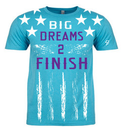 Dream Finishers BIG Dreams 2 Finish Tahiti Blue Shirt  with White Stars and Purple Letters