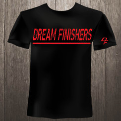 Dream Finishers Casual Style Black Shirt with Red Letters
