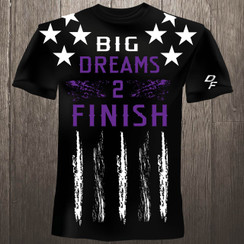 Dream Finishers BIG Dreams 2 Finish Black Shirt  with White Stars and Purple Letters