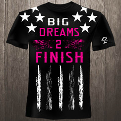 Dream Finishers BIG Dreams 2 Finish Black Shirt  with White Stars and Pink Letters