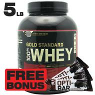 100% Whey Gold Standard 5LB, Cookies N' Cream + FREE BONUS