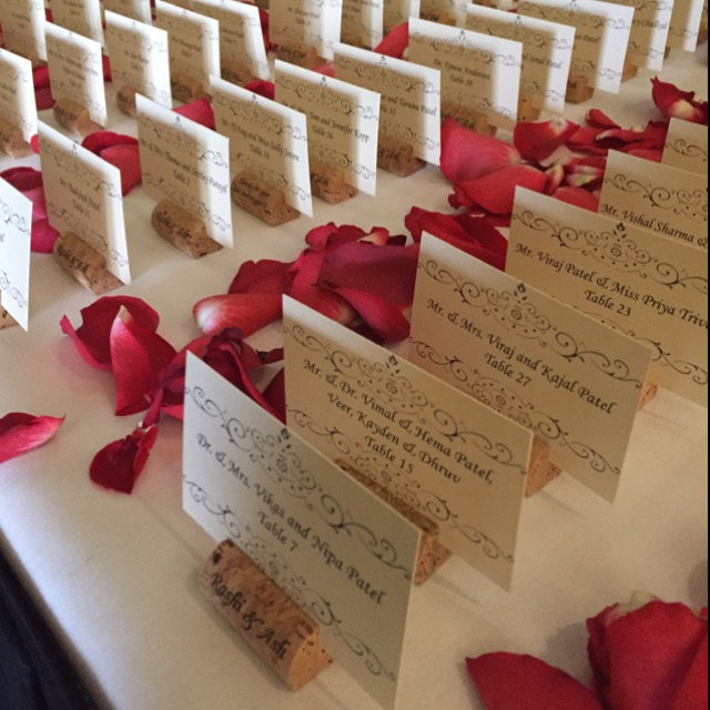 Personalized Wine Cork Place Card Holders from CorkeyCreations.com